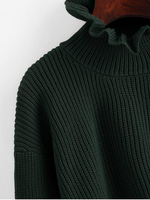 shops Solid Ruffled Pullover Sweater - GREEN L Mobile