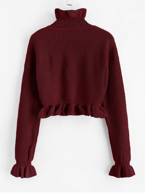 fashion Solid Ruffled Pullover Sweater - FIREBRICK M Mobile