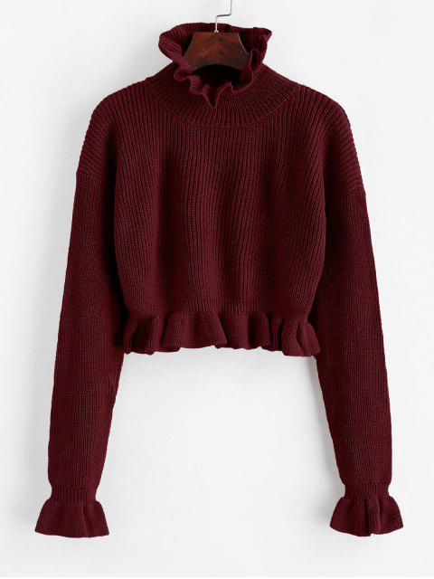 women's Solid Ruffled Pullover Sweater - FIREBRICK S Mobile