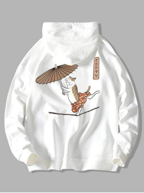 Cordón del gato del baile con el paraguas pescado impresión con capucha - Blanco XL Mobile
