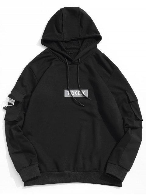 Patrón de la letra informal Color empalmado con capucha - Negro L Mobile