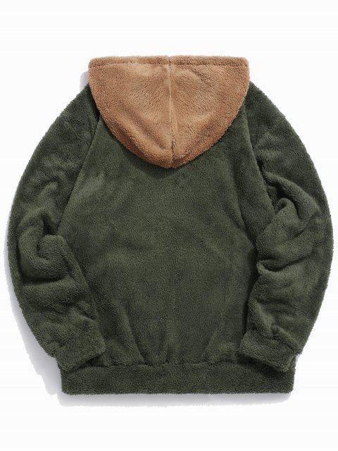 Colorblock empalme con cordón mullido con capucha - Ejercito Verde M Mobile