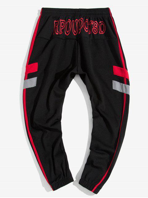 shop Contrast Stripe Letter Print Casual Jogger Pants - RED XL Mobile