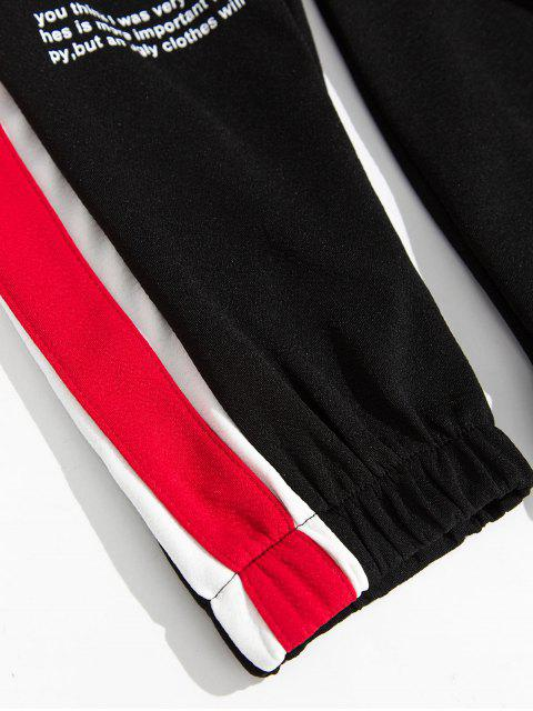 women Side Colorblock Spliced Letter Print Casual Jogger Pants - RED XS Mobile