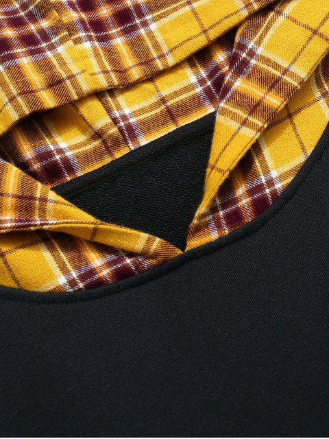A cuadros empalmado de impresión de letras gota hombro Faux Twinset con capucha - Multicolor XL Mobile