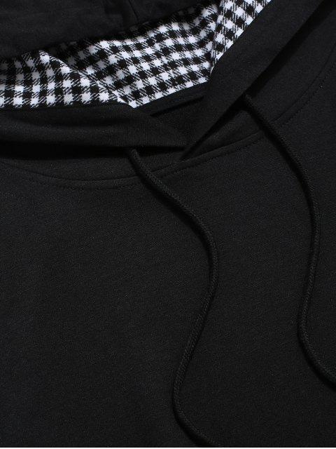 ZAFUL tela escocesa empalmado Faux Twinset alta con capucha baja - Multicolor L Mobile