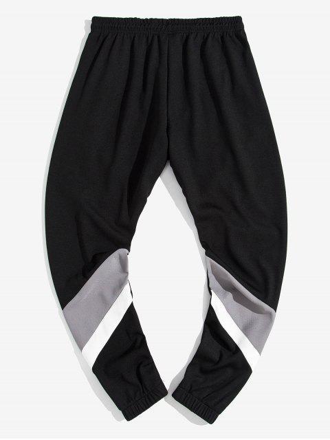 El bloqueo de color Carta empalmado Pantalones con cordón de impresión del basculador - Gris L Mobile