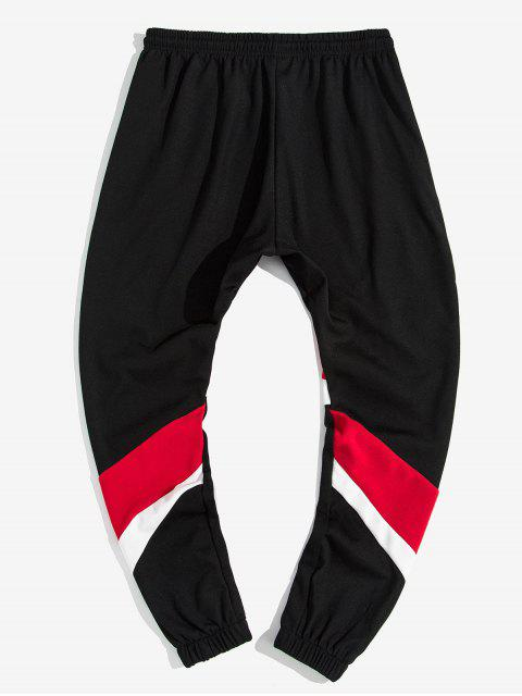 lady Color Blocking Spliced Letter Print Drawstring Jogger Pants - RED S Mobile