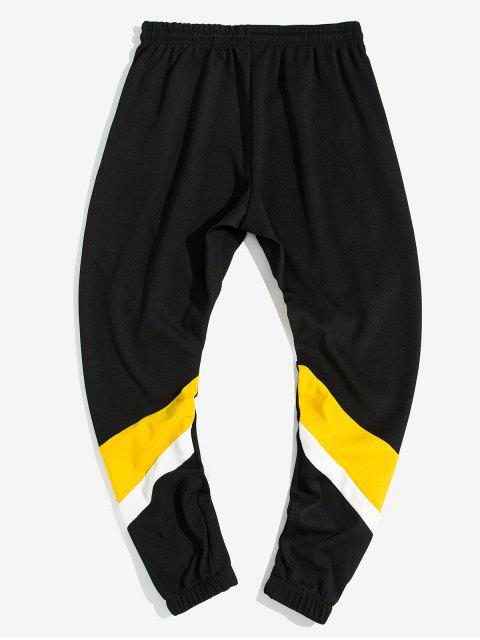 outfit Color Blocking Spliced Letter Print Drawstring Jogger Pants - YELLOW L Mobile