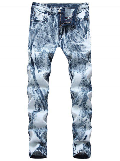 Faded largo Lavar con cremallera y pantalones de mezclilla - Azul de Jeans  36 Mobile