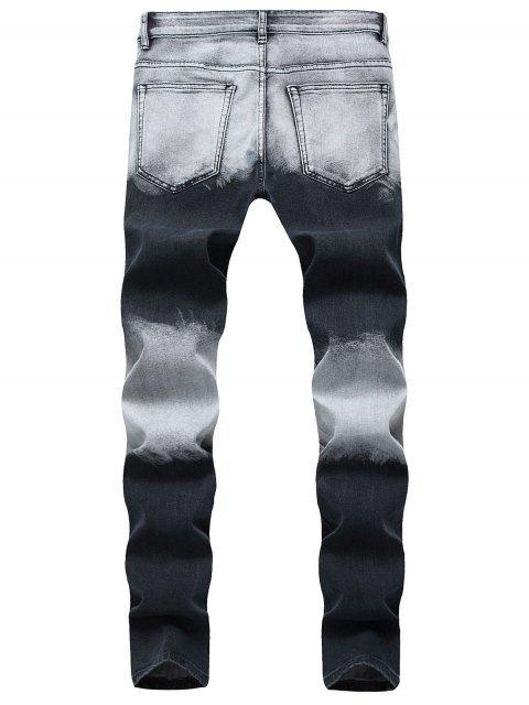 Pantalones de mezclilla de lavado largo descolorados rasgados - Azul Oscuro de Denim 38 Mobile