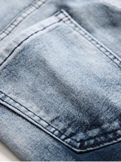 Los puntos de la salpicadura de la pintura descolorada de los pantalones vaqueros largos - Azul Oscuro de Denim 38 Mobile