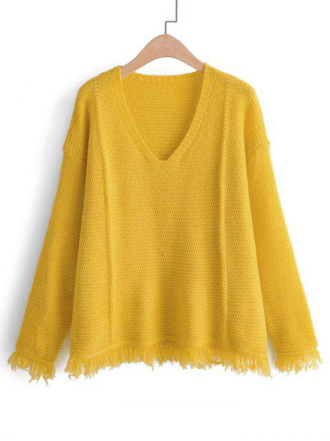 平野タッセル裾ドロップショルダーセーター - 黄 ワンサイズ Mobile