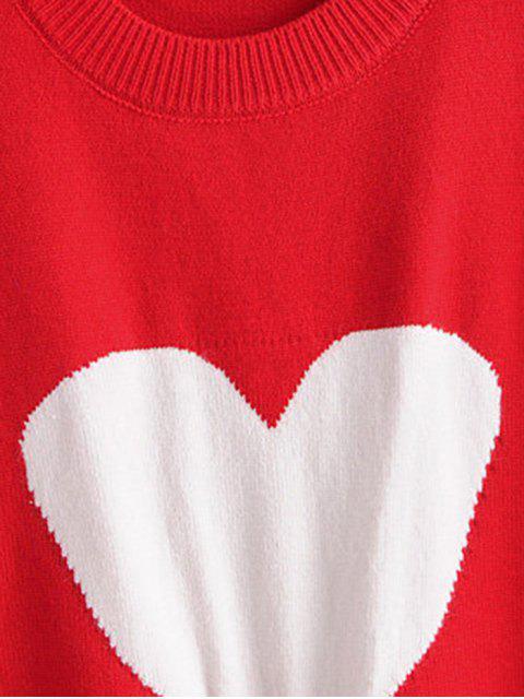 Cuello de equipo de marquetería de punto gráfico del corazón del puente del suéter - Rojo Talla única Mobile