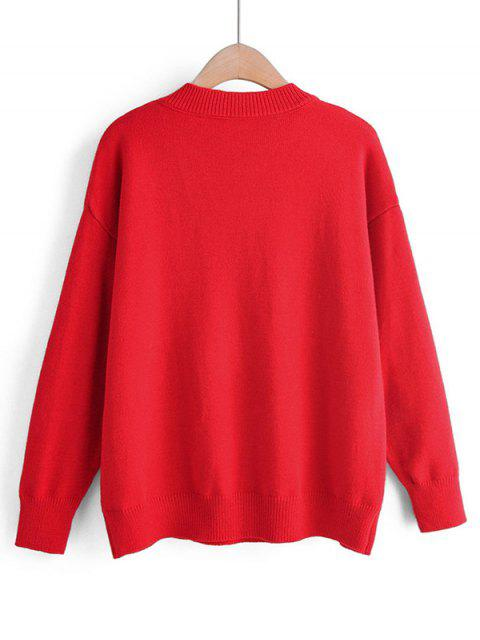 lady Crew Neck Intarsia Knit Heart Graphic Jumper Sweater - RED ONE SIZE Mobile