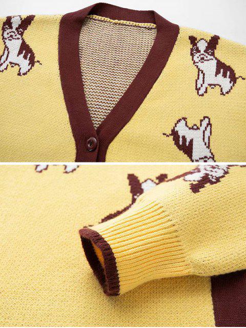 Botón encima del cuello en V del perro de perrito Cardigan gráfico - Amarillo Talla única Mobile