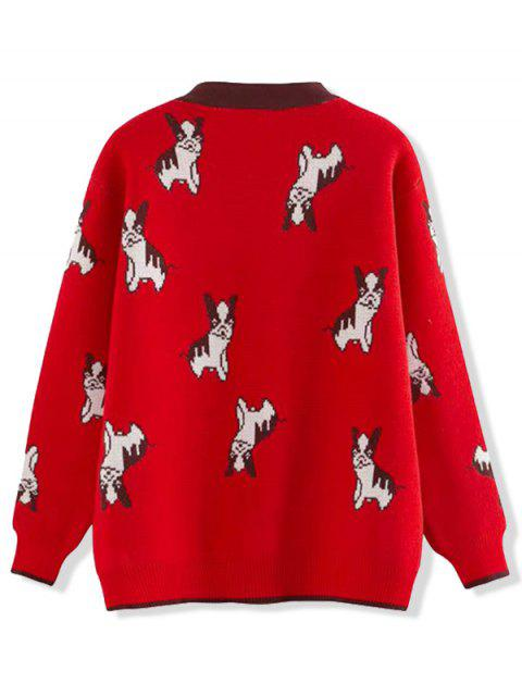 Botón encima del cuello en V del perro de perrito Cardigan gráfico - Rojo Talla única Mobile