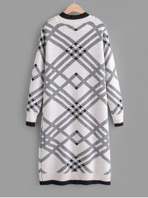 Robe Pull Droit Géométrique Imprimé à Col V - Noir Taille Unique Mobile