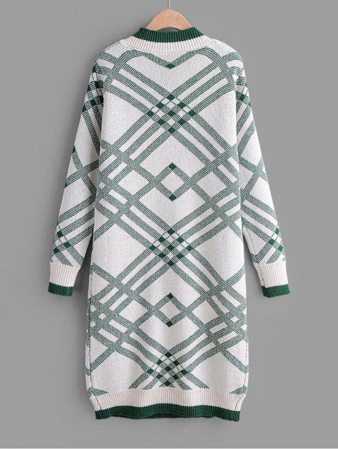 V Ausschnitt Geometrisches Druck Gerades Pullover Kleid - Grün Eine Größe Mobile