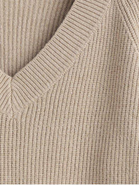 latest V Neck Cuffed Sleeve Jumper Sweater - TAN ONE SIZE Mobile