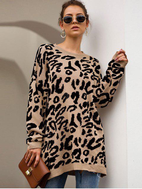 Elch Graphik Weihnachten Tropfen Schulter Tunika Pullover - Khaki M Mobile