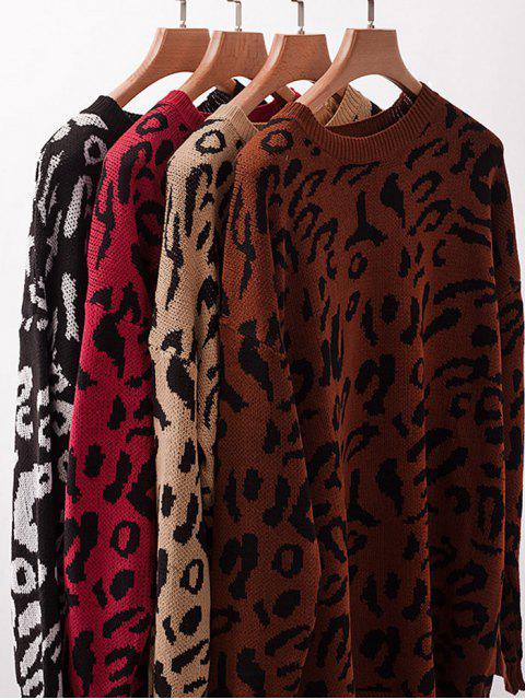 Elch Graphik Weihnachten Tropfen Schulter Tunika Pullover - Khaki XL Mobile