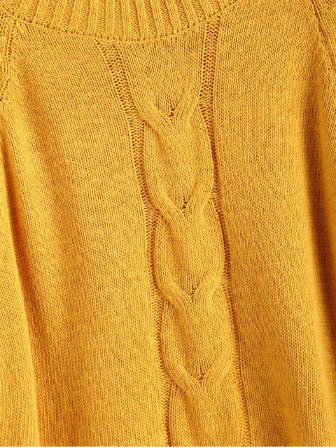 Raglanärmeln Stehkragen  Lose Pullover - Gelb M Mobile