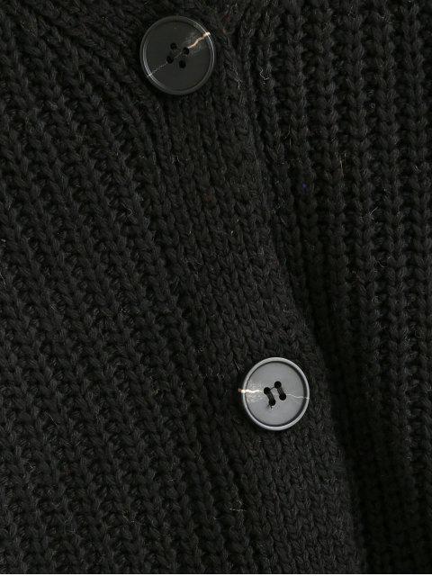 Knopf  V-Ausschnitt Ausgebogter Rand Strickjacke - Schwarz Eine Größe Mobile