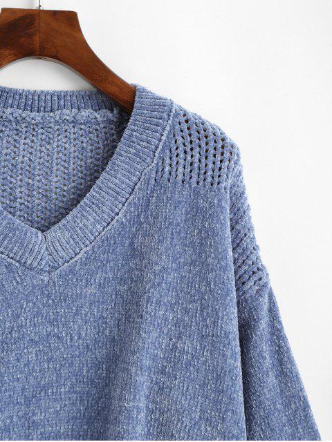 V領雪尼爾雞眼跳線毛衣 - 藍灰色 One Size Mobile
