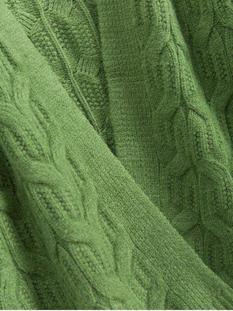 固體開放前麻花針織落肩外套 - 綠色 One Size Mobile