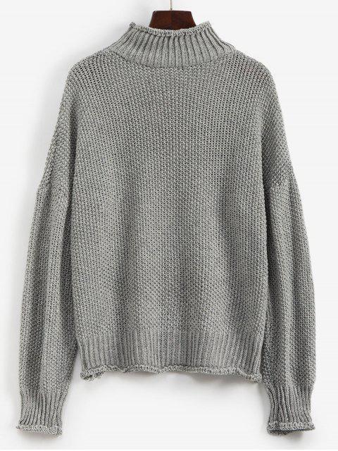 latest Mock Neck Drop Shoulder Cuffed Edge Jumper Sweater - GRAY M Mobile