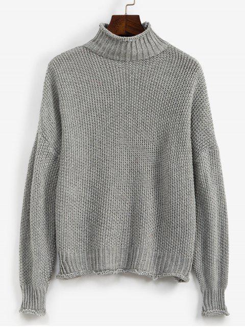 Stehkragen Tropfen Schulter Manschettenkante-Jumper Pullover - Grau XL Mobile