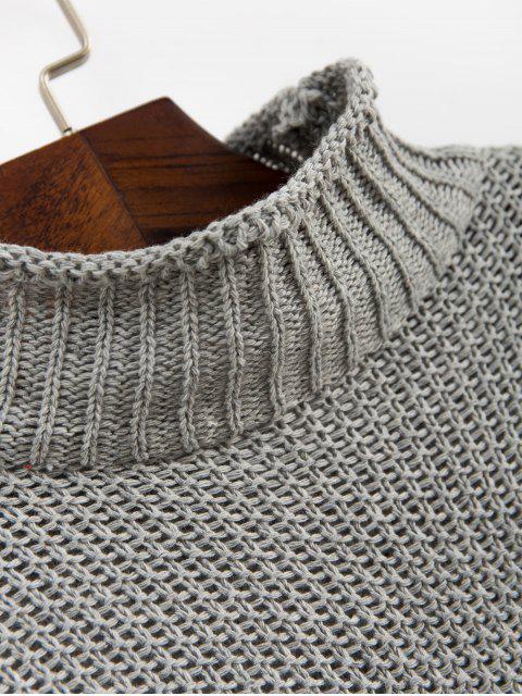 模擬領落肩翻邊邊緣跳線毛衣 - 灰色 XL Mobile