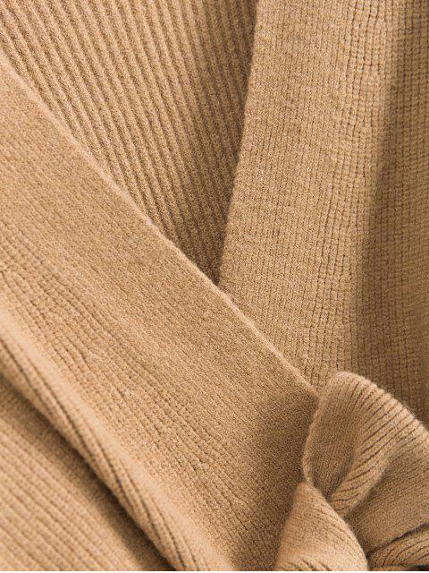 V Ausschnitt Gürtel Zweireiher Strickjacke - Tan Eine Größe Mobile