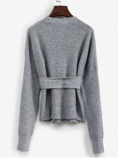 V Ausschnitt Gürtel Zweireiher Strickjacke - Grau Eine Größe Mobile