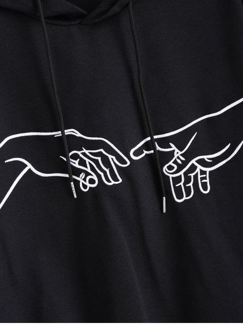 Gestickter Hand Pullover Hoodie mit Drop Schulter - Schwarz L Mobile