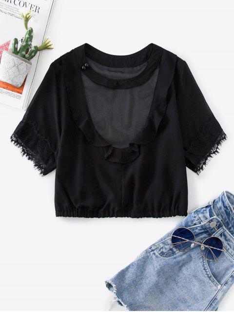 蕾絲插入項圈荷葉邊上衣裁剪 - 黑色 M Mobile
