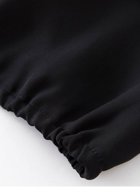 Spitze Panel Halsband Rüschen Crop Bluse - Schwarz S Mobile