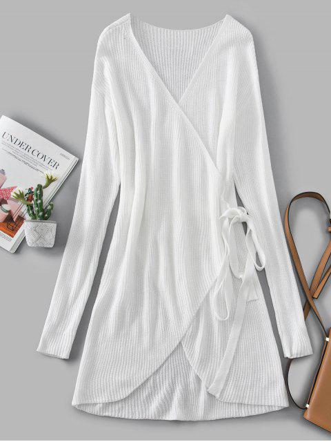 outfits V Neck Solid Wrap Sweater Dress - WHITE L Mobile