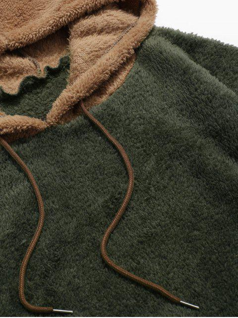 women Colorblock Splicing Drawstring Fluffy Hoodie - ARMY GREEN M Mobile
