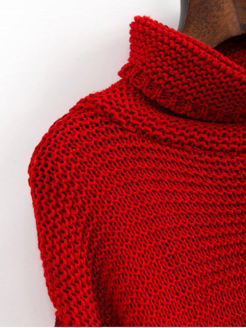 online Trutleneck Slit Drop Shoulder Jumper Sweater - RED L Mobile