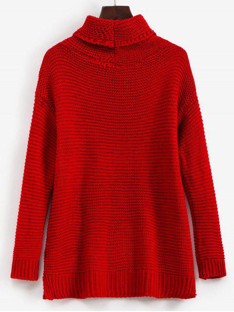 new Trutleneck Slit Drop Shoulder Jumper Sweater - RED XL Mobile