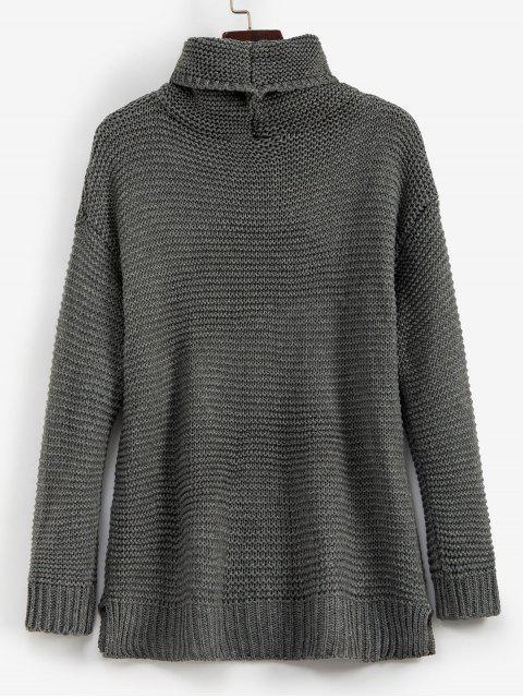 outfits Trutleneck Slit Drop Shoulder Jumper Sweater - GRAY L Mobile