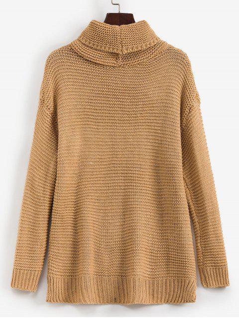 trendy Trutleneck Slit Drop Shoulder Jumper Sweater - TAN L Mobile