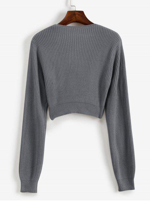 fashion V Neck Cropped Twist Front Sweater - GRAY L Mobile