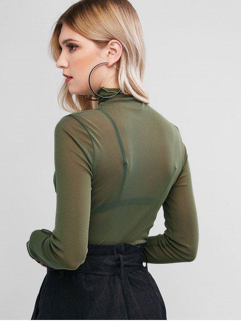 trendy Mesh Lettuce See Thru Long Sleeve Tee - GREEN ONE SIZE Mobile