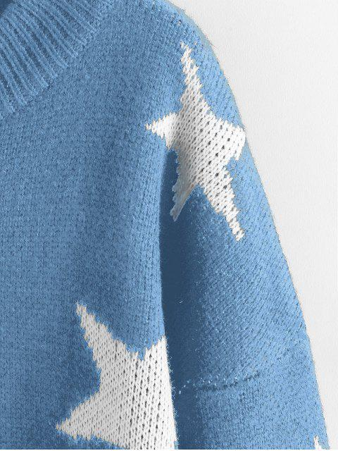 best ZAFUL Star Drop Shoulder Jumper Sweater - BLUE KOI L Mobile