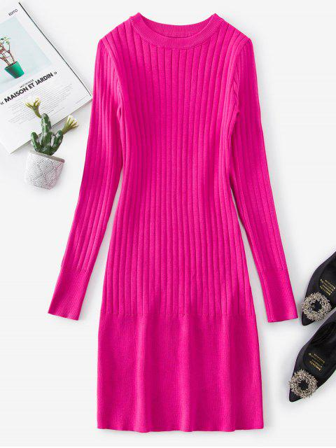 women Ribbed Bodycon Solid Sweater Dress - DEEP PINK S Mobile