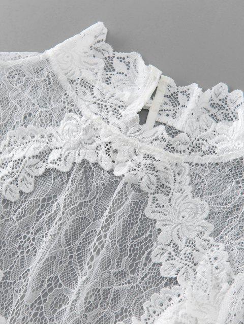 hot Lace Panel Cutout Crop Blouse - WHITE XL Mobile