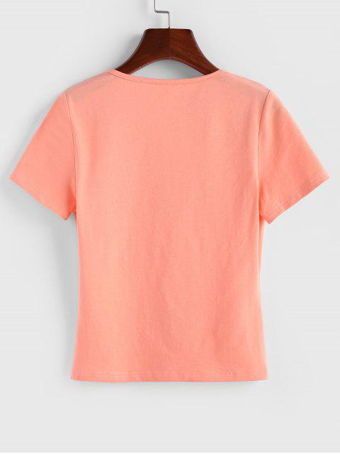 ZAFUL T-shirt Plongeant Anneau en O à Manches Courtes - Orange Rose L Mobile